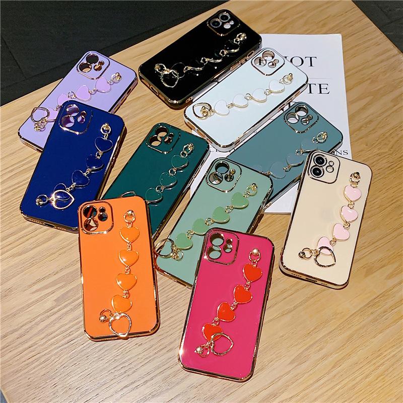 iPhone12ProMAX ケース ベルト付き ブレスレット メッキ iPhone11 XS max XR 7 スマホケース