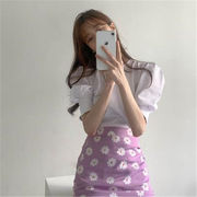 雑誌やSNSで話題 韓国ファッション エレガント レトロ Tシャツ+デイジー プリント スプリットスカート