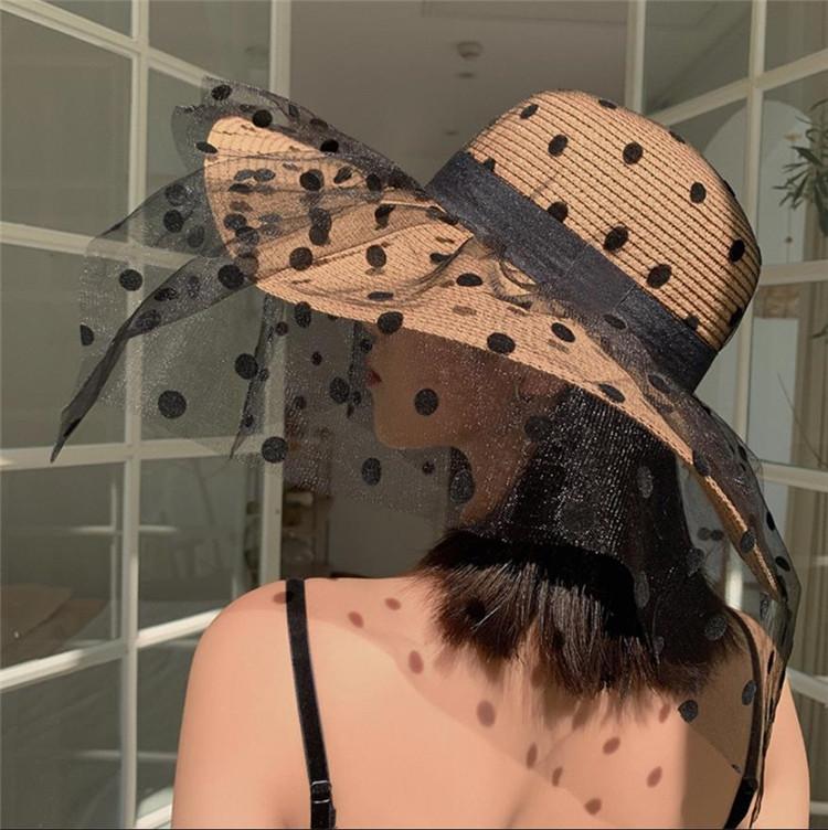 日よけ帽 日焼け止め 夏 薄い ビーチ 麦わら帽子 大きなつば レース ドット 顔を覆う UVカット sweet系