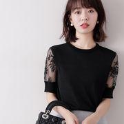 韓国風 春夏 Yシャツ レース 可愛い 上品 OL通勤用