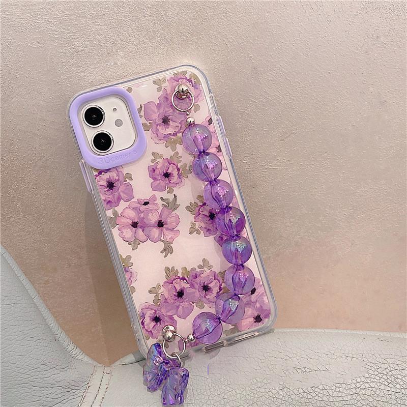 花柄iPhoneケース ブレスレット付き 落下防止 iPhone12Mini iphone11 ケース