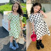 キッズ春夏 女の子 ワンピ  シフトドレス ワンピース ドット柄 ゆったり 半袖スカート 子供服 7-15