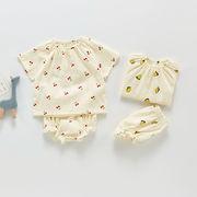 キッズ 子供服 春夏新作 女の子 半袖上着 レモン サクランボ ブラウス フリル シャツ+パンツ 66-100