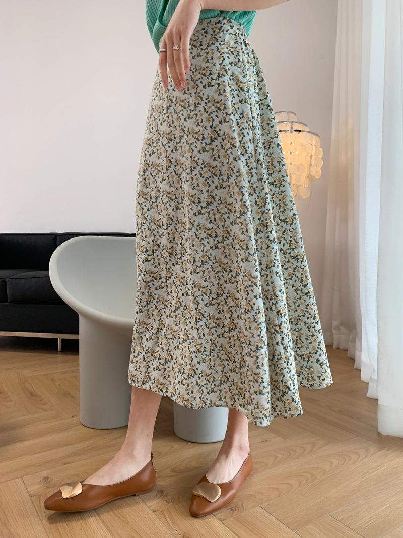 2021年春夏新作 レディース 韓国風 スカート ロング   花柄 通勤 ファッション 2色M-L