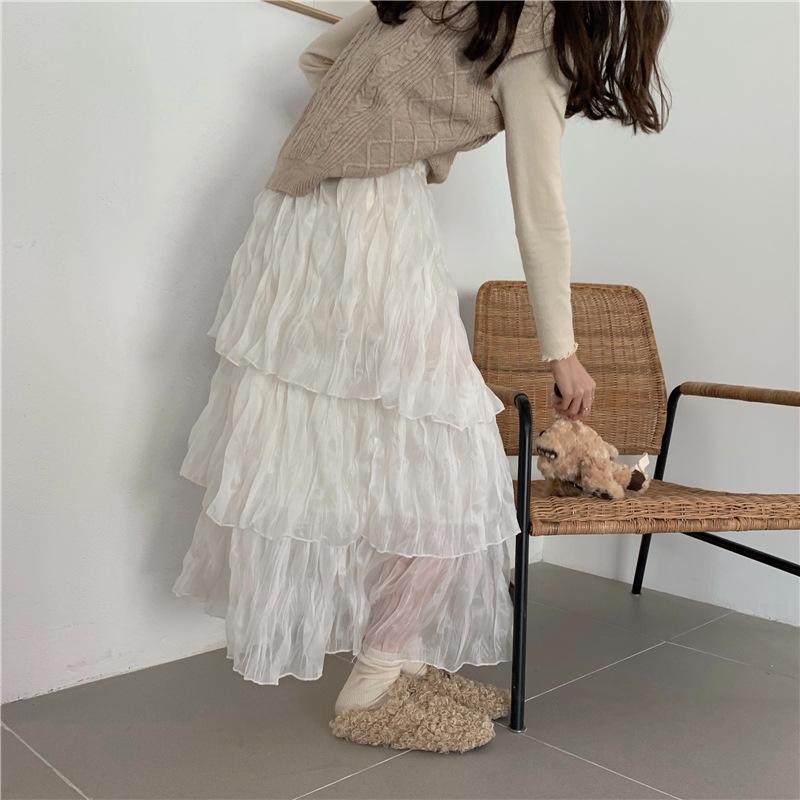 2021年春夏新作 レディース 韓国風 スカート ロング   ティアードスカート ファッション 2色フリー
