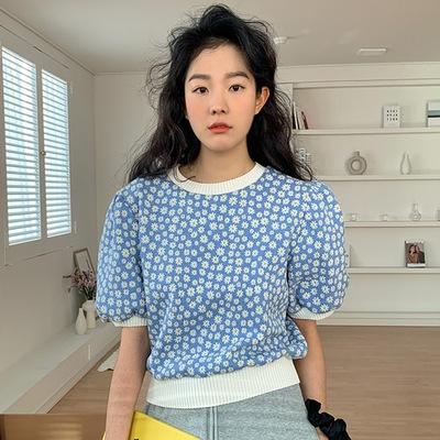 2021年春夏新作 レディース 韓国風 シャツ パフスリーブ ニット ファッション 3色フリー