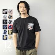 Tシャツ メンズ 半袖 ポケットプリント コットン100% 半袖Tシャツ ポケットTシャツ トップス カットソー