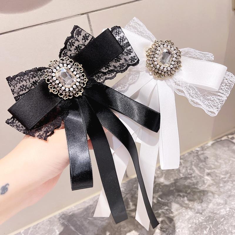 アクセサリー リボン ブローチ クラシカルリボンブローチ  かわいい 花柄刺繍レースパープル プレゼント