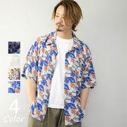 アロハシャツ メンズ レーヨン ビッグシルエット 開襟 オープンカラー オーバーシャツ ビッグシャツ