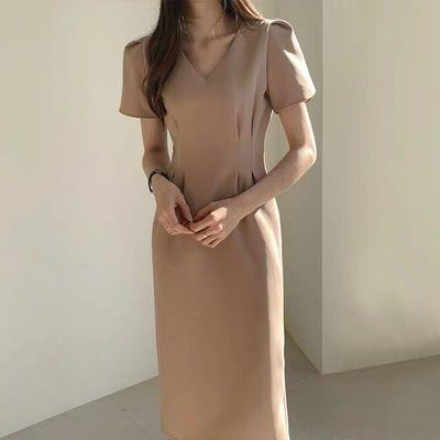 2021年春夏新作 レディース 韓国風 ワンピース vネック 気質 通勤 ファッション 2色フリー
