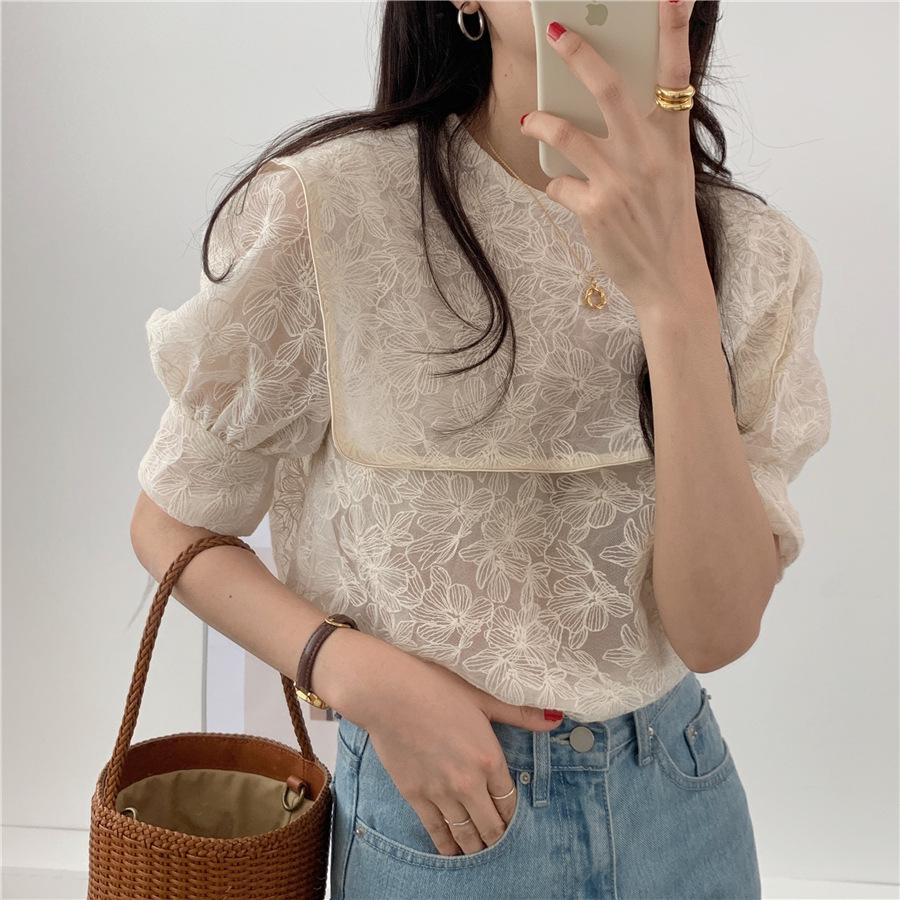 2021年夏新作 レディース 韓国風 シャツ パフスリーブ 通勤 気質 優しい ファッション フリー
