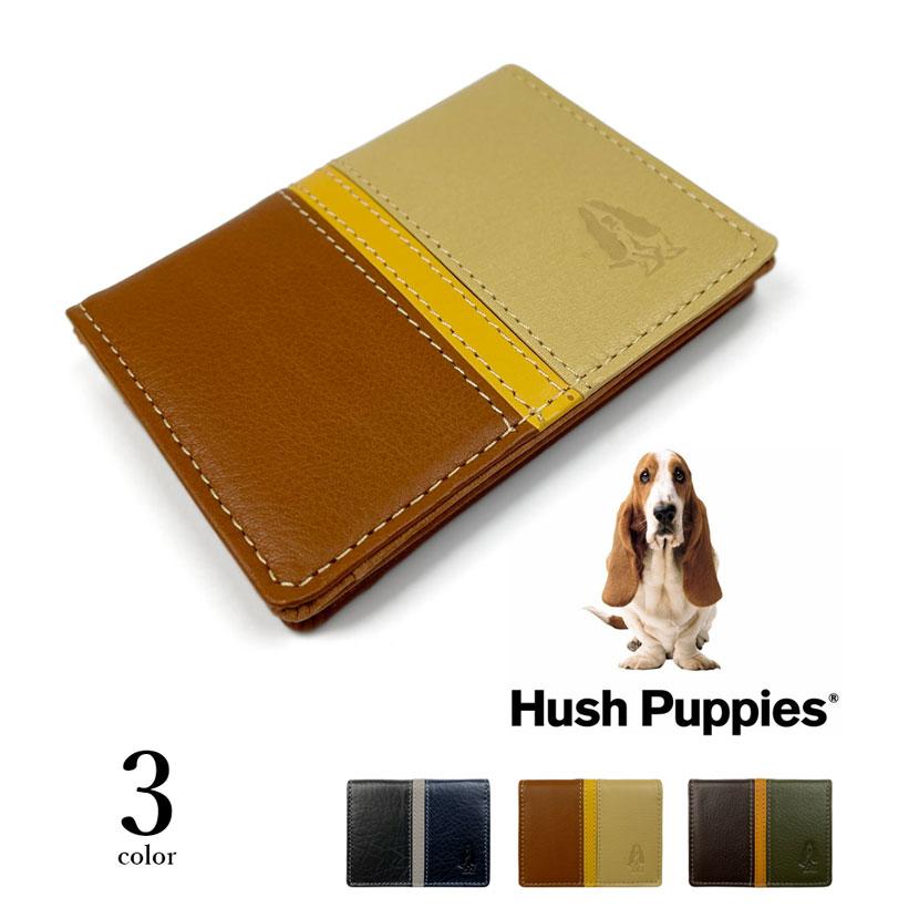 全3色 Hush Puppies ハッシュパピー リアルレザー トリコロールカラー パスケース 定期入れ