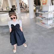 親子服 キッズ春夏 女の子 ワンピ  シフトドレス ワンピース ドッキング 半袖スカート子供服 7-15