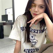 韓国 韓国ファッション カジュアル Tシャツ 半袖 プリント ベア ラウンドネック コットン 春夏