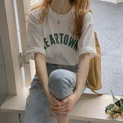 韓国 韓国ファッション カジュアル Tシャツ 半袖 ラウンドネック ユニセックス シンプル 春夏