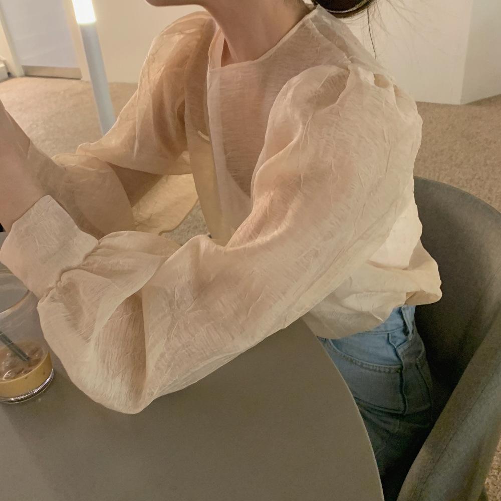 2021年春夏新作 レディース 韓国風 シャツ 長袖 透明感 おしゃれ 通勤 ファッション 2色フリー