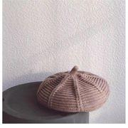 子供 ベレー帽 女児 帽子 ニット 男児 ニットベレー帽 秋 冬 ニット帽 キャンディーカラー ジュニア