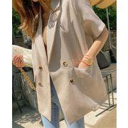 半袖 コート カジュアル スリムフィット シフォン 縫付 スーツ 気質 エレガント 中・長セクション