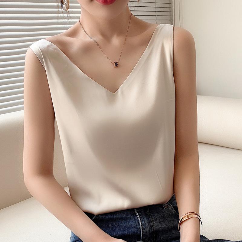 韓国 韓国ファッション カジュアル キャミ 夏服 キャミソール インナー サテン