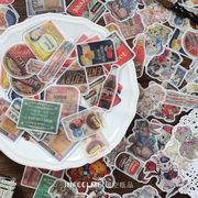 春夏 塩系文具 シール貼紙 手帳素材 封口貼 アンティーク 雑貨 食べ物 映画 動物猫兎 40枚入