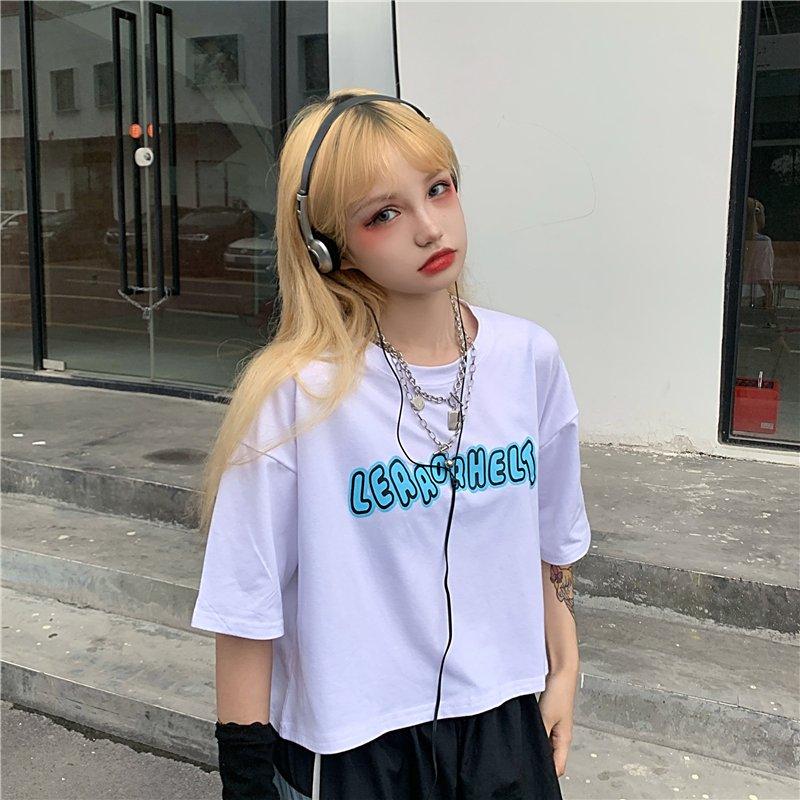 日系 Tシャツ  レディース 出し ショート丈 半袖 夏ゆるいトップス韓国ファッション原宿系
