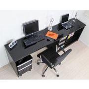 パソコンデスク 最大210cm 鏡面仕上 日本製 ブラック デスクセット 机+スライド書棚+チェスト