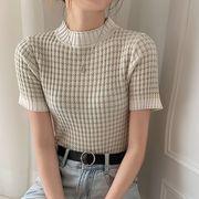 【2021INS 新作】絶対流行カジュアルチェック柄混色ニットトップス可愛いTシャツ