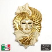 イタリア製 陶器 壁掛けベネチアンカーニバルマスク ジャーダ 仮面 ベージュ 金
