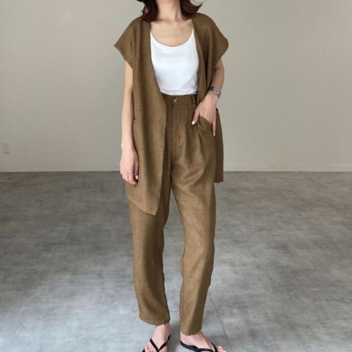 ベスト パンツ 上下セット ノースリーブ 2021年秋新作 着回し 韓国ファッション