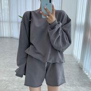 【2021INS 新作】スウィート レディース カジュアル 韓国風 シンプル長袖シャツ+ショーパン セット