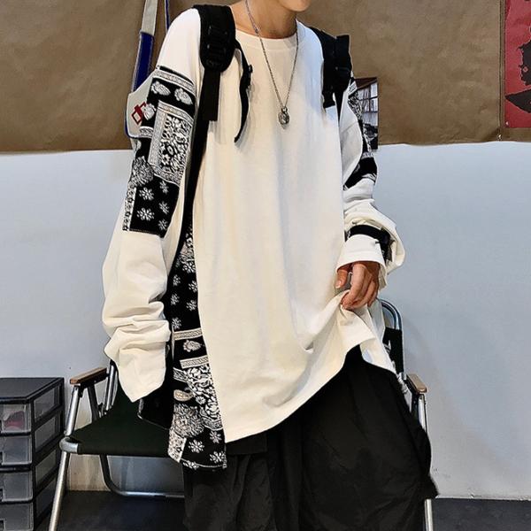 メンズ 長袖Tシャツ カジュアル 渋谷風 男女兼用 大きいサイズ ストリート系★ブラック ホワイト