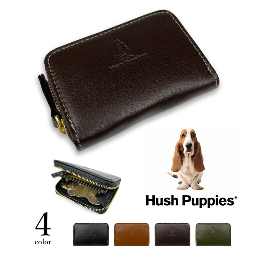 全4色 Hush Puppies ハッシュパピー リアルレザー ラウンドファスナー コインケース 小銭入れ