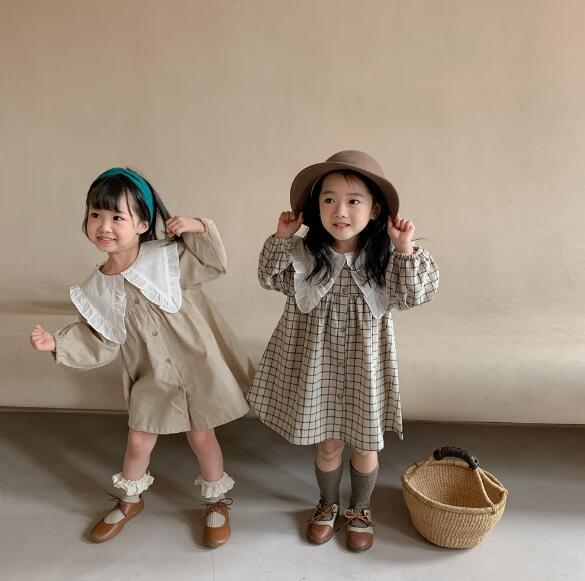 韓国風ワンピース 春秋 チェックワンピース 可愛い 韓国ファッション パフスリーブ 綿麻 フリル 長袖