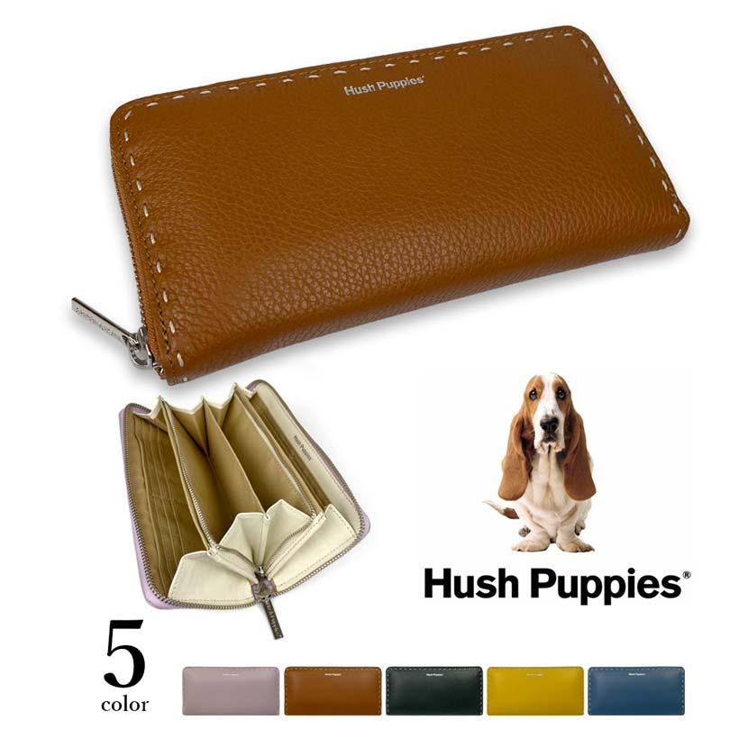 全5色 Hush Puppies ハッシュパピー リアルレザー ステッチデザイン ラウンドファスナー  長財布