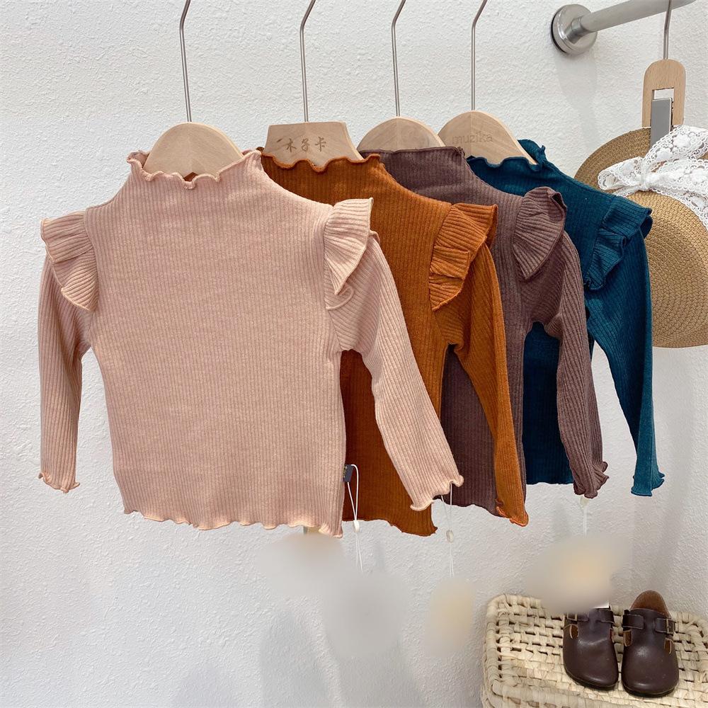 【KID】韓国風子供服 ベビー服 シンプル 無地 長袖 トップス 肩フリル