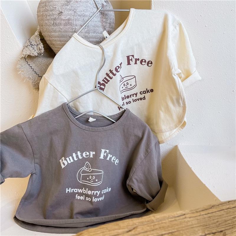 【KID】韓国風子供服 ベビー服 男女兼用 英字柄 長袖 トップス Tシャツ