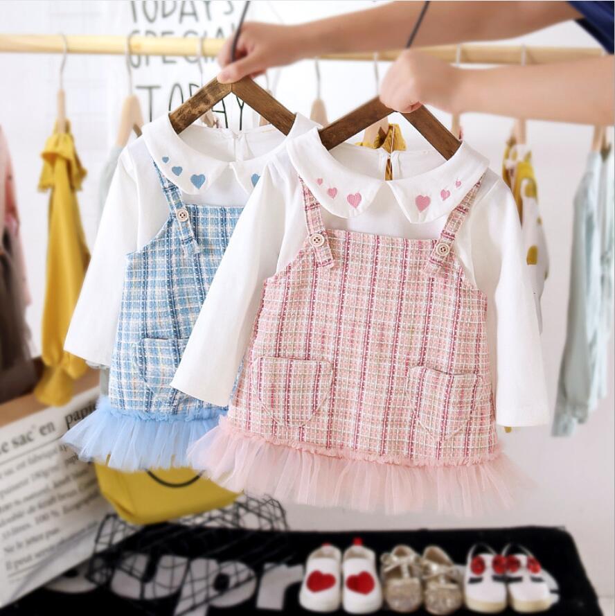 秋冬新作 女の子 子供  トップス+ワンピース ドレス  可愛いワンピース 子供服 キッズ服 2点セット