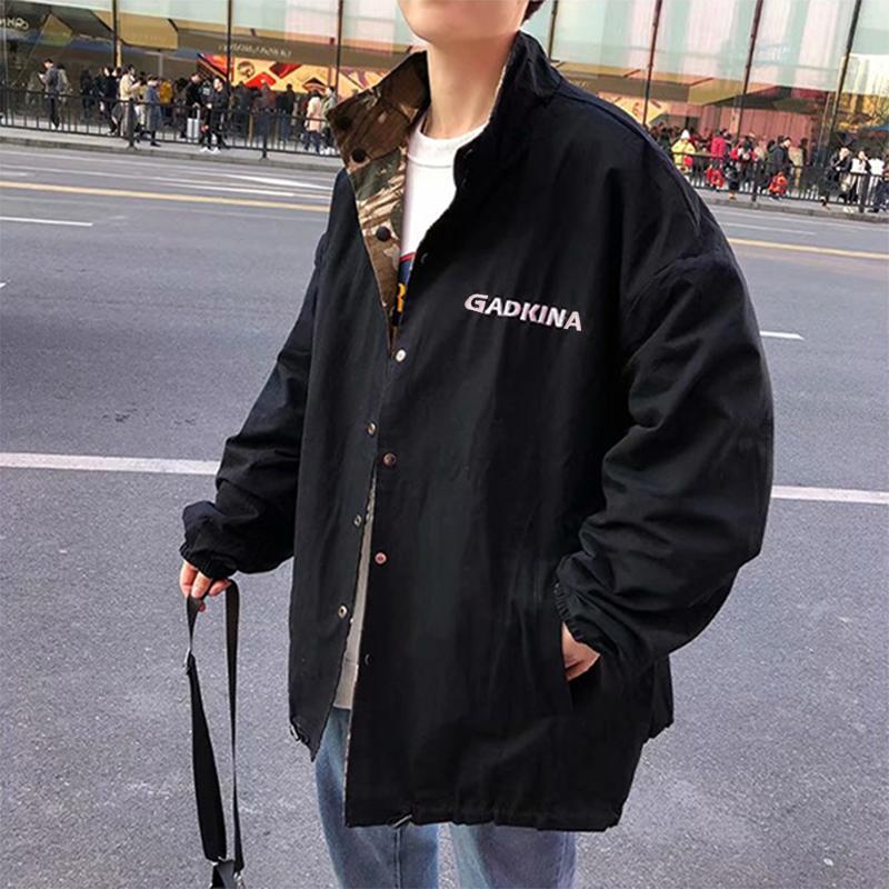 ユニセックス 両面ジャケット カーゴジャケット 秋 カジュアル  大きいサイズ 迷彩柄 ブラック