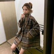 ウールのコートの女性の秋と冬の2020年の人気のウールコート格子の厚い花の新しい韓国語版