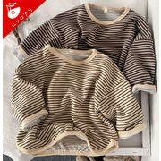 韓国風子供服 ボーダー柄長袖Tシャツ ベビー服 女の子 男の子 秋冬