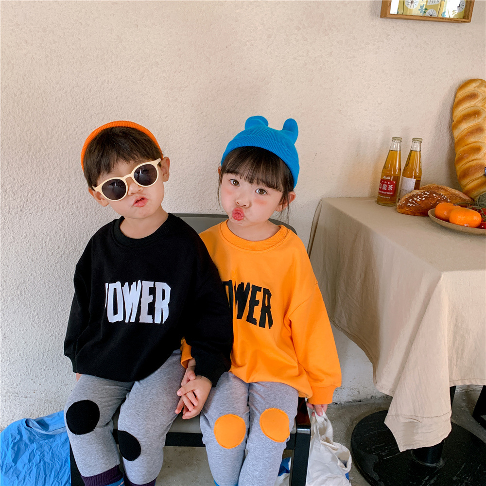 【KID】韓国風子供服 ベビー服  男女兼用 英字柄 長袖 セットアップ プルオーバー