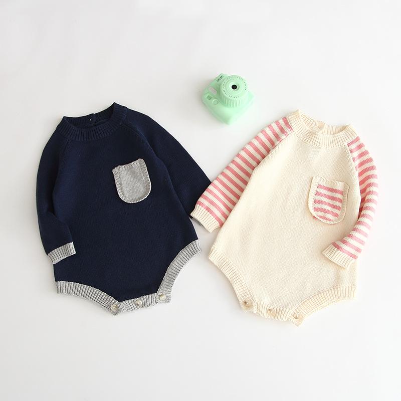 【KID】韓国風子供服 ベビー服  男女兼用 ロンパース 長袖 ポケット付き