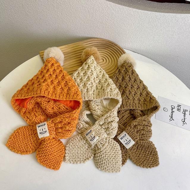 帽子 キャップ マフラー キッズ 子ども 秋冬 シンプル かわいい カジュアル 人気
