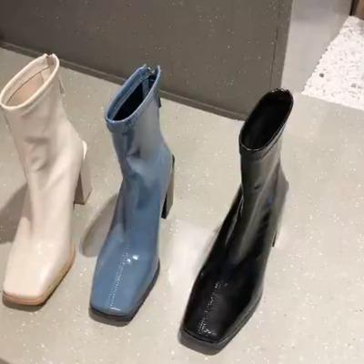 ブーツ 女 ミドルヒール 太いヒール ブーツ 秋冬 韓国風 ブーツ 新しいデザイン 白