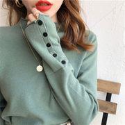 合わせやすい服で、ハーフハイネック ボトミング ニットセーター 秋冬 ススリム セーター 初秋 トップス