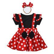 プリンセスワンピースハロウィンの子供服のコスプレ赤ちゃん服のドットの女の子3点セット