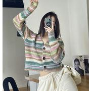 縞模様 セーター 上着 秋冬 韓国スタイル Vネック ゆったり シャツ 上着 トップス レディース