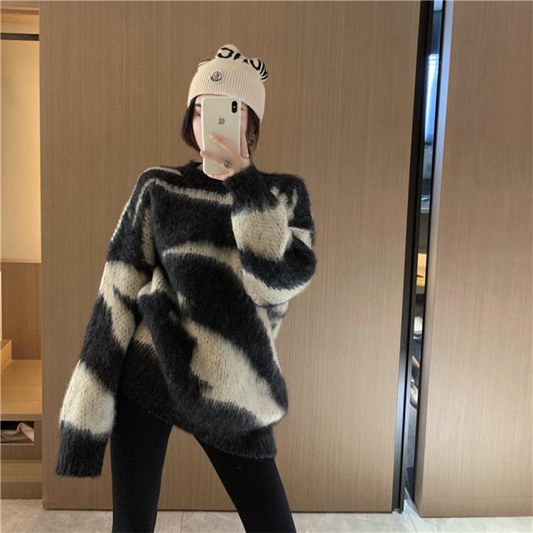 韓国ファッション 2021 秋冬 ラウンドネック 長袖 カラーマッチング セーター ゆったりする 怠惰な風